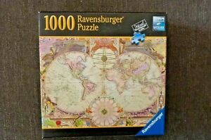 "RAVENSBERGER Germany 1000 Piece Jigsaw Puzzle ""ANTIQUE MAP""  27x20 - #82 005"