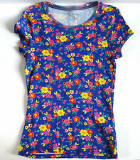 Ladies 100% Cotton Short Sleeved T-Shirt- Blue / Multi  Floral- UK Size 10-NEW