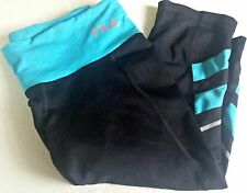 Fila Sport Womens Pants Black Teal Capri Performance Running Size XSmall