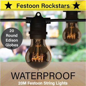 20m Black Festoon String Lights | Round Edison Globes | Outdoor Party Wedding