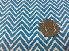 "BTY ~ FABRIC FINDERS 100% COTTON ~ MINI CHEVRON ~ TURQUOISE & WHITE ~ 59""W"