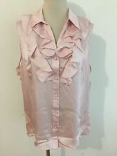 TAHARI Button-Front Sleeveless Ruffled Top Blouse Pale Pink Size L NWT MSRP $54