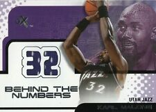 2001-02 FLEER EX BEHIND THE NUMBERS KARL MALONE GAME USED JERSEY HOF UTAH JAZZ