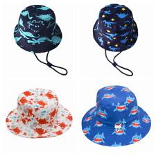 Kids Boy Girl 100% Cotton Bucket Reversible Hat UPF 50 Adjustable Sun Cap Unisex