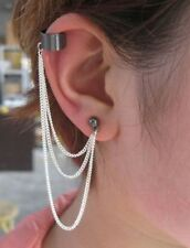 EarCuff Dark Gothic Style 3 Chain Link Tassels Ear Cuff Clip Stud Earring   kd1