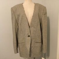 New Ashley Brooke Womens Blazer Size 20 Tall Grey Ivory Houndstooth Vintage
