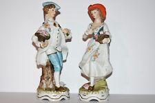 Vintage Boy & Girl Ceramic Figurines - Korea
