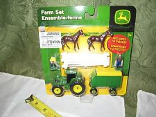Ertl John Deere Farm Tractor Barn Set NEW Wagon fence Farmer Horse Equine white