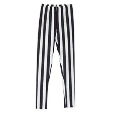Women Vertical Striped Long Legging Skinny Stretchy Clubwear Pencil Pant Trouser