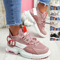 WOMENS LADIES SPORT SLIP ON TRAINERS BUCKLE CHUNKY SNEAKERS PARTY WOMEN SHOES