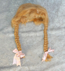 """Lovely Early Vintage Mohair Doll Wig w Braids 11"""" Head Circumference"""