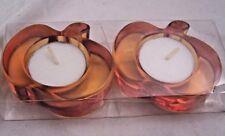 2 Orange PUMPKIN tea light candle holders Pumpkin  tea lites New