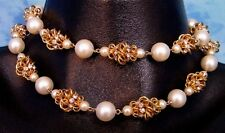 ViNTAGE VENDOME INTRiCATE GOLD METAL RHiNESTONE PEARL CHOKER DOUBLE NECKLACE