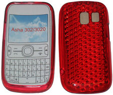 For Nokia Asha 302 / 3020 Pattern Gel Jelly Case Cover Protector Pouch RED New