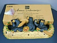 Home Interiors Black Bears in a Canoe Wall Hanging Hat Rack 3 Pegs Country Cabin