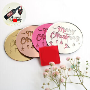 5Pcs Merry Christmas Cupcake Toppers Acrylic Round Gift Cake Insert Card Sign