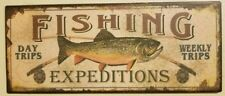 FISHING EXPEDITIONS METAL SIGN Day Trip Bass Fly Fishing Lake Cabin Lure Decor