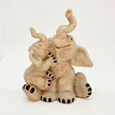 Quarry Critters Evian and Ella Elephants Figurines Trunks Up 2001 Resin Stone