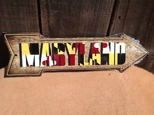 """Maryland State Flag This Way To Arrow Sign Novelty Metal 17"""" x 5"""""""