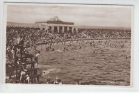 Sea Bathing Lake Southport Crowds Of People c1930's Real Photograph Post Card