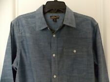 New Mens Helix Long Sleeve Button Front Athletic Fit Shirt - Medium - Chambray