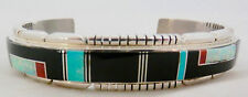 USA Navajo TF Sterling Silver Channel  Inlay Onyx and Multi-Stonel Cuff Bracelet