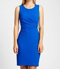 Calvin Klein Dress Sz 8 Electric Blue Pleated Sleeveless Career Cocktail Sheath