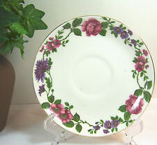 "Vtg Bone China Made in England Stamped Hallmark ""S"" Floral Pink Purple Flowers"