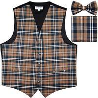 New Men's Plaid Tuxedo Vest Waistcoat & Bowtie Set Brown Wedding Prom formal