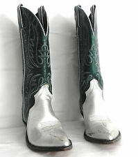 Women's Code West Cowboy Western Boots Size 6 M Green and Silver tones