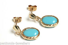 9ct Gold Turquoise Drop earrings Made in UK Gift Boxed