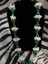 J83 green agate glass pearl necklace 20 inch silvertone lobster lock tgw 175.35