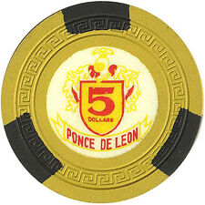 Ponce De Leon $5 Clay Casino Chips Puerto Rico FREE SHIPPING *