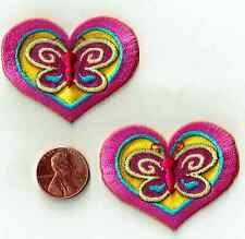 HEARTS ~ BUTTERFLY  Iron-On Applique  Sewing Fabric Embellishment