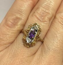 WoW 10k Yellow Gold Amethyst Diamond Pave Antique Vintage Filigree Estate Ring 7