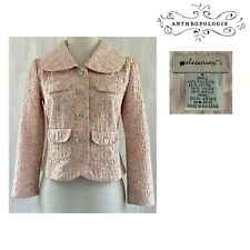 ELEVENSES Women's Sz 4 Pink Daisy Floral Jacquard 3/4 Sleeve Crop Jacket EUC