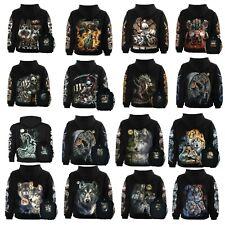 Wolf / Biker / Guitar / Dragon / Tiger Wild Hoodie Unisex Hoody Hooded Jumper