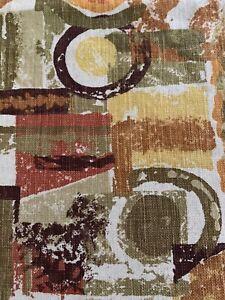 Vintage Mid Century Modern Curtain Panel Fabric Brown Orange 40 X 52