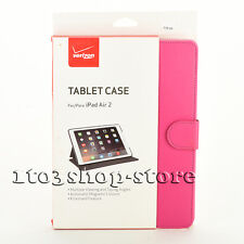 Verizon Folio Leather Stand Sleep/Wake Cover Case for Apple iPad Air 2 Pink