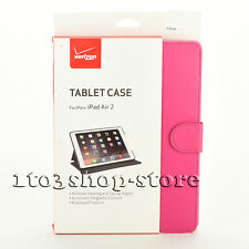 Verizon Folio Leather Flip Cover Book Hard Case w/View Stand for iPad Air 2 Pink