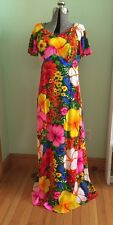 Vintage 1960s Vibrant Barkcloth Pomare Hawaii Hawaiian Hibiscus Dress Gown Sz 16
