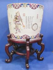 Chinese Republic Fish Bowl Jardiniere w Stand Flower Pot