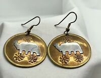 Lovely Vintage Copper Gold & Silver Tone Elephant Pierced Ear Dangle Earrings