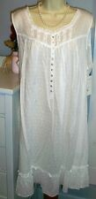 NWT XL Eileen West Nightgown Gown 100% Cotton Short White NEW Swiss Sleeveless