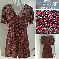 Topshop PETITE Velvet Tea Dress 8 Ditsy Floral Short Sleeve Summer Pink V-Neck