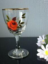 VTG Sherry Liqueur Glasses Goblet With Facet Floral Design 150ml Cup Clear Stem