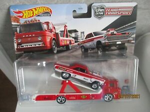 HOTWHEELS TEAM TRANSPORT 65 MERCURY COMET CYCLONE AND FORD C-800 CRACKED BUBBLE