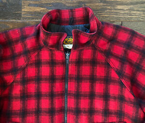 Vintage Woolrich Mens Buffalo Plaid Full Zip Jacket Quilted Lining Wool Size XXL