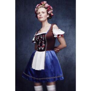 Bavarian Oktoberfest Womens Costume Dirndl Dress German Beer Maid Fancy Dress