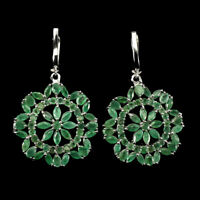 Unheated Marquise Emerald 5x2.5mm Transparent 925 Sterling Silver Big Earrings